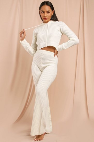 Cream Fisherman Knit Crop Hoodie + Wide Leg Set