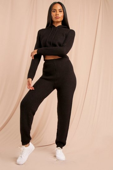 Black Fisherman Knit Crop + Jogger Set