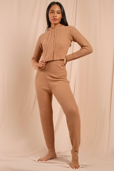 Camel Fisherman Knit Crop + Jogger Set