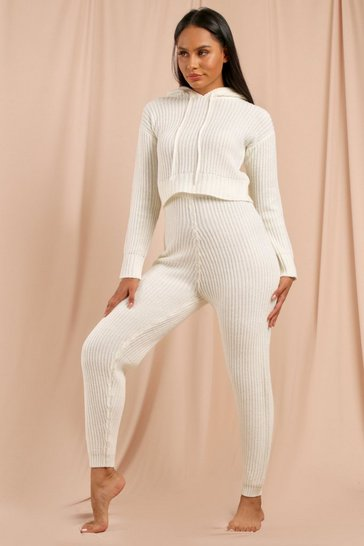 Cream Fisherman Knit Crop + Jogger Set