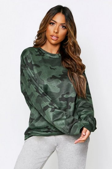 Green Camo Oversized Sweater