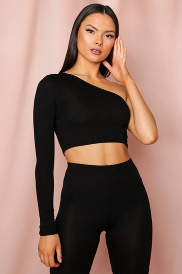 Black One Shoulder Long Sleeve Crop Top