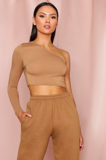Womens Camel One Shoulder Long Sleeve Crop Top