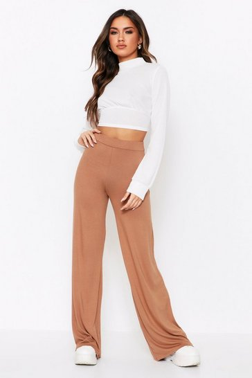 Camel High Waisted Flared Leg Trousers
