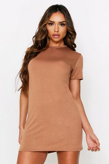 Womens Camel Crew Neck T-Shirt Dress