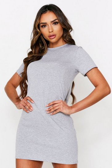 Grey marl Crew Neck T-Shirt Dress