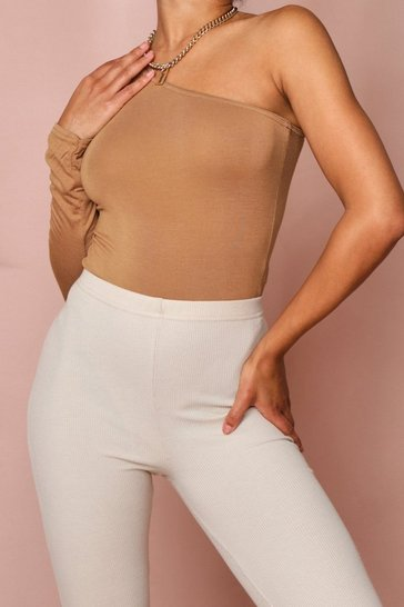 Camel One Shoulder Long Sleeve Thong Bodysuit