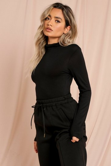 Black High Neck Long Sleeve Thong Bodysuit