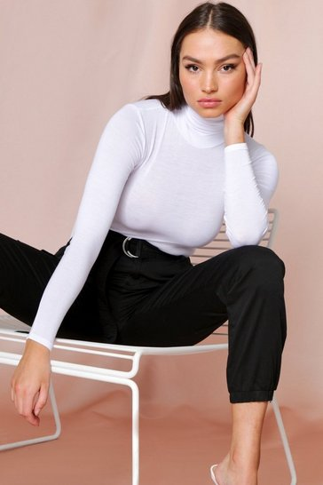Womens White High Neck Long Sleeve Bodysuit
