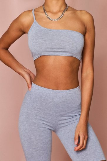 Grey One Shoulder Strappy Crop Top