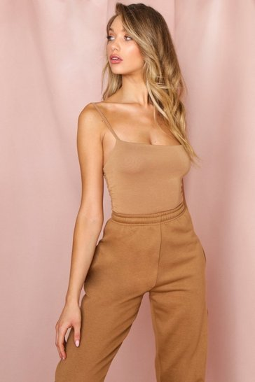 Camel Square Neck Strappy Thong Bodysuit