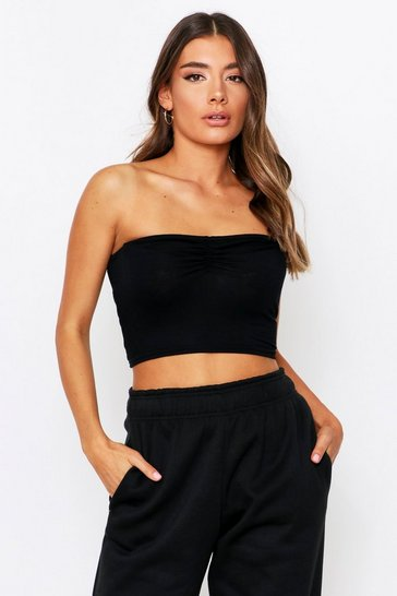Black Ruched Front Bandeau Top
