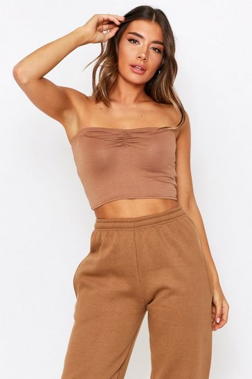 Womens Camel Ruched Front Bandeau Top