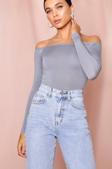 Charcoal Bardot Long Sleeve Full Pant Bodysuit