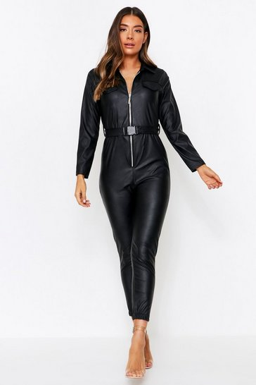 Womens Black PU Jumpsuit