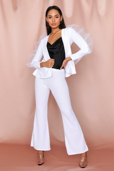 White Ruffle Mesh Detail Suit