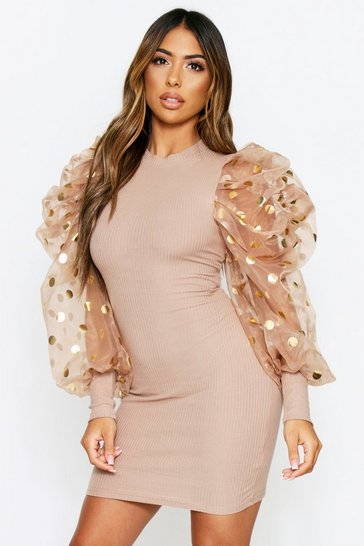 Womens Camel Metallic Spot Puff Sleeve Dress