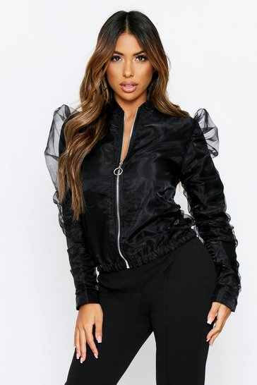 Black Organza Puff Sleeve Bomber Jacket