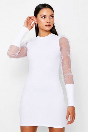 White Mesh Puff Sleeve Bodycon Dress