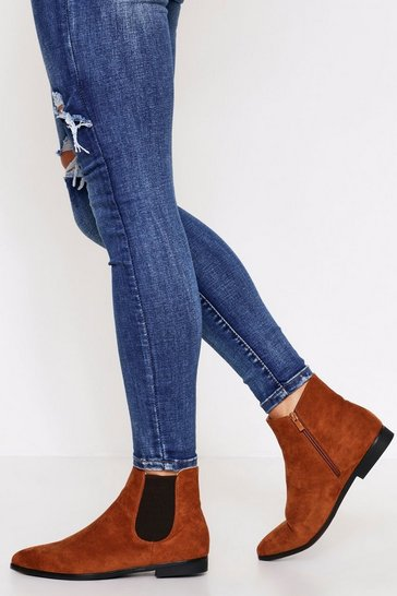 Tan Pointed Toe  Chelsea Boot