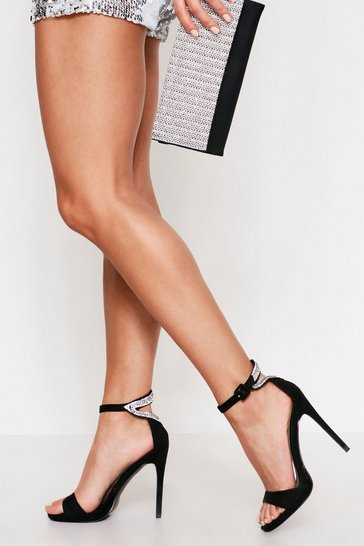 Womens Black Diamante Heel Detail Barely There Heels