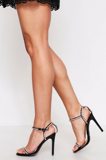 Womens Black Diamante Strap Detail Barely There Heels