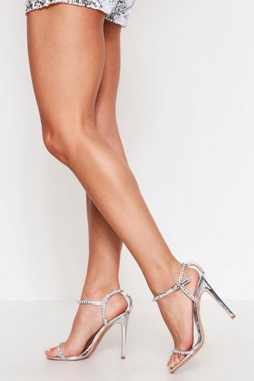 Womens Silver Diamante Strap Detail Barely There Heels