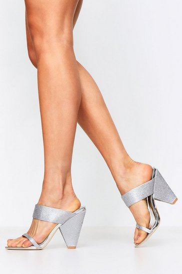 Womens Silver Diamante Embellished Cone Mules