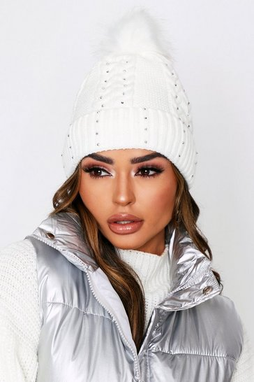 Womens Cream Diamante Trim Faux Fur Pom Pom Hat