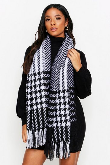 Womens Black Check Printed Scarf