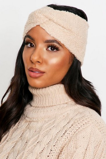 Womens Beige Teddy Fur Knot Front Headband