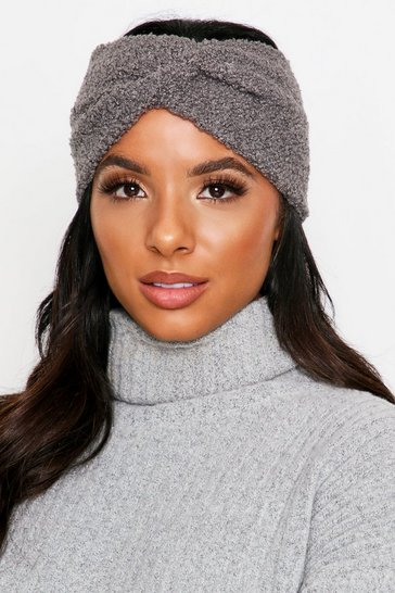 Womens Grey Teddy Fur Knot Front Headband