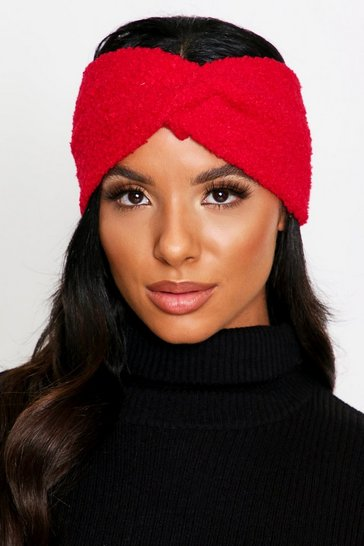 Red Teddy Fur Knot Front Headband