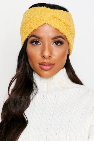 Yellow Teddy Faux Fur Knot Front Headband