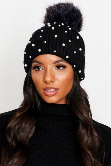 Womens Black Pearl Detail Faux Fur Pom Pom Knitted Hat