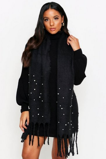 Womens Black Soft Knitted Perl Trim Scarf