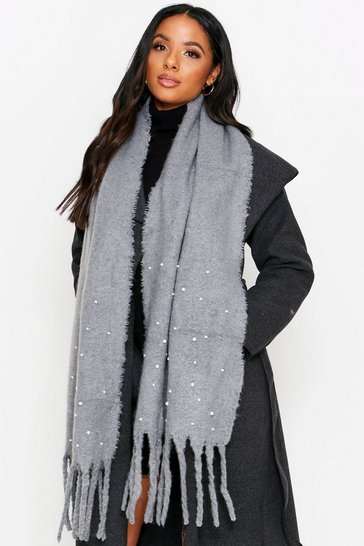 Womens Grey Soft Knitted Perl Trim Scarf