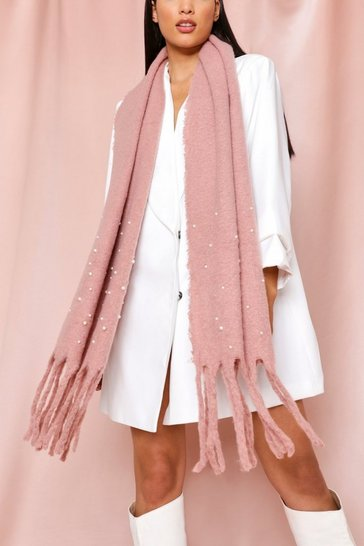 Pink Soft Knitted Perl Trim Scarf