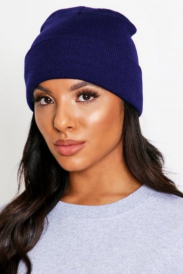 Navy Knitted Basic Beanie Hat