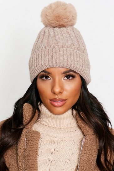 Womens Beige Faux Fur Pom Pom Hat