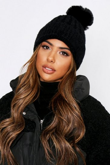 Black Faux Fur Pom Pom Hat
