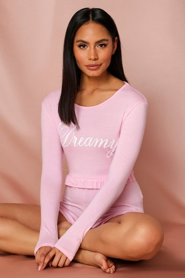 Pink Dreamy Slogan Frill Hem PJ Short Set