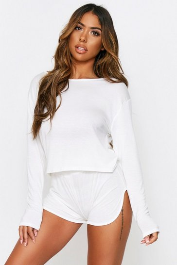 Ecru Short And Crop PJ Set