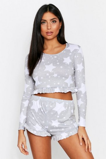 Grey Star Print Frill Hem Short PJ Set
