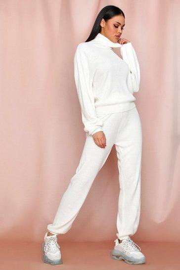 Cream Roll Neck Jumper And Knitted Trouser Coord