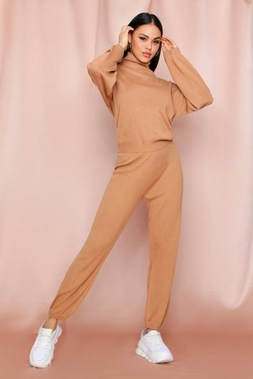 Toffee Roll Neck Jumper And Knitted Trouser Co-ord Set