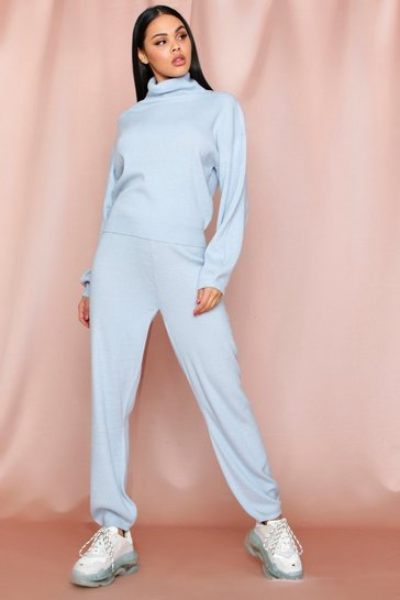Baby blue Roll Neck Jumper And Knitted Trouser Coord