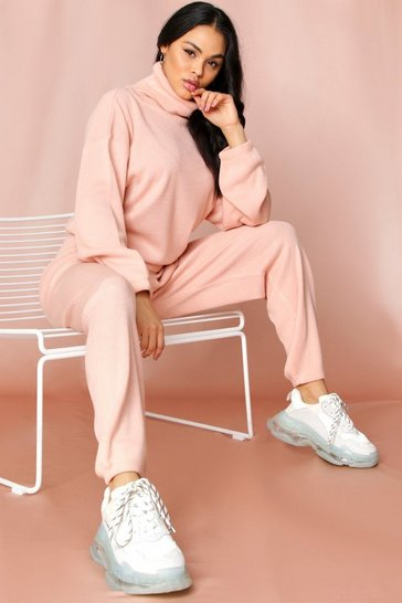 Blush Roll Neck Jumper And Knitted Trouser Co-ord