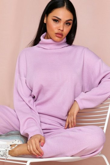 Lilac Roll Neck Jumper And Knitted Trouser Coord