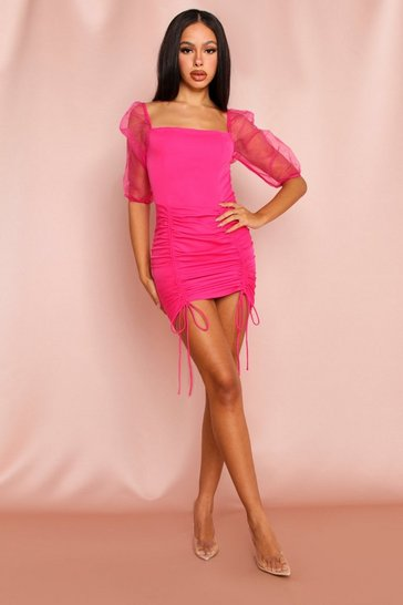 Womens Hot pink Organza Sleeve Ruched Front Mini Dress